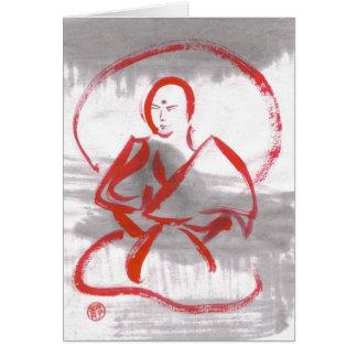 Cartão vazio Meditating da monge de Shaolin