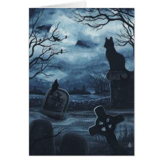 Cartão Vazio Notecard do corvo da sociedade do gato preto