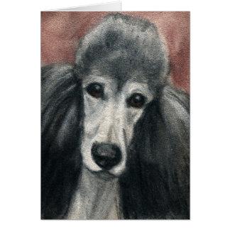 """Cartão """"Vazio Notecards da arte do cão da caniche padrão"""