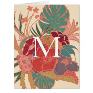 Cartão Vazio tropical floral NoteCard do monograma do