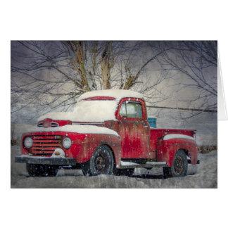 Cartão Vazio vermelho velho Notecard do caminhão