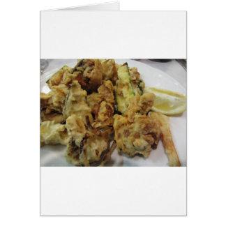 Cartão Vegetais crocantes panados e fritados com limão