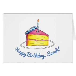 Cartão Vela da fatia do bolo do rosa do feliz aniversario
