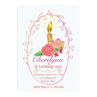 Cartão Vela dourada brilhante com rosas da aguarela