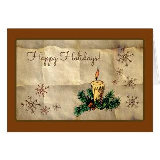 Cartão Vela e flocos de neve boas festas
