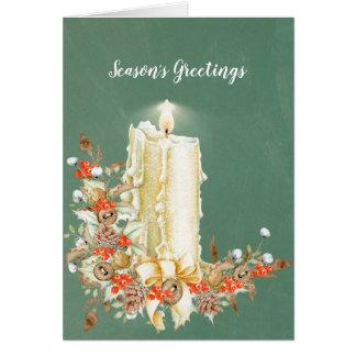Cartão Vela encantador do feriado com Pinecones &