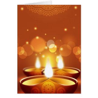 Cartão Velas do ouro da celebração de Diwali