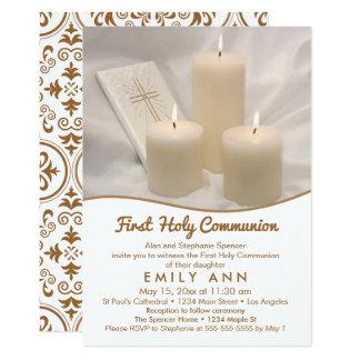 Cartão Velas e comunhão santamente de livro de oração