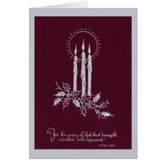 Cartão Velas e verso de prata e marrons do Natal