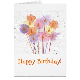 Cartão Velas festivas do feliz aniversario