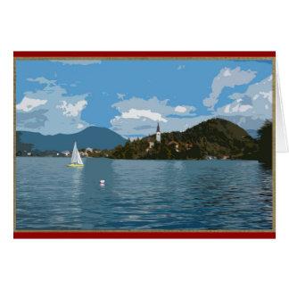 Cartão Veleiro no lago sangrado, Slovenia
