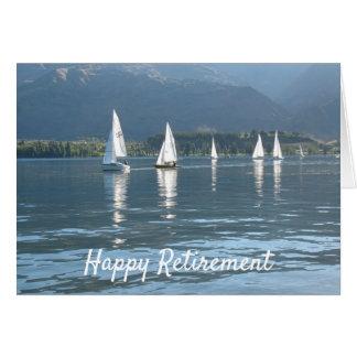 Cartão Veleiros felizes da aposentadoria em um lago