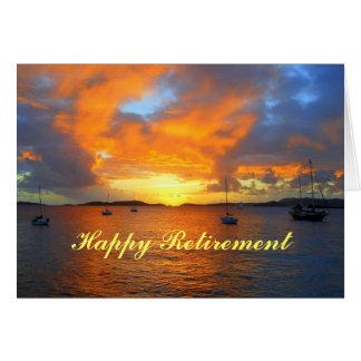 Cartão Veleiros felizes da aposentadoria no por do sol