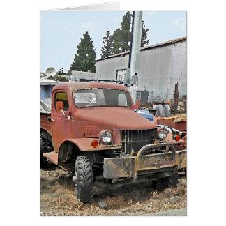 Cartão velho antigo do caminhão do vintage