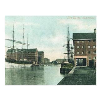 Cartão velho - as docas, Gloucester