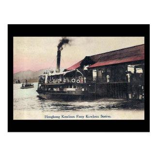 Cartão velho - balsa de Kowloon, Hong Kong