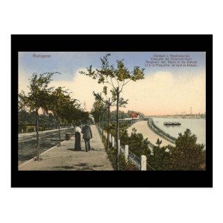 Cartão velho - Budapest, bancos do Danúbio, 1916