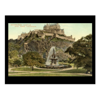 Cartão velho, castelo de Edimburgo e fonte de Ross