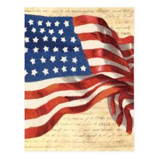 Cartão velho da pintura da bandeira americana