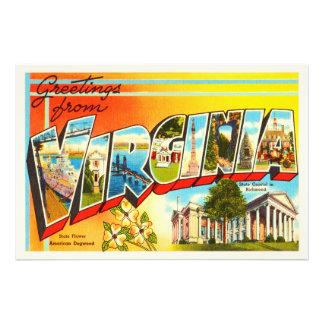 Cartão velho das viagens vintage do VA do estado Impressão De Foto