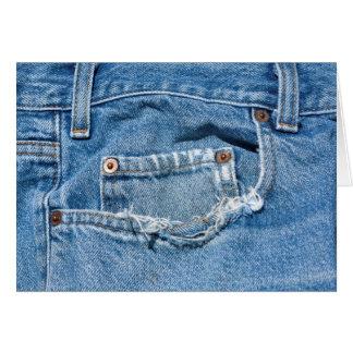 Cartão velho de jeans