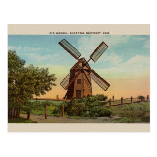 Cartão velho de Nantucket do moinho de vento do