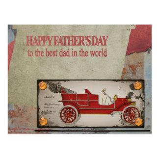 Cartão velho do carro do dia dos pais feliz - o