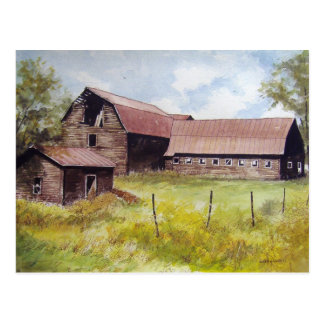 Cartão velho do celeiro e da Casa da quinta