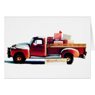 Cartão velho do Natal do país do caminhão do