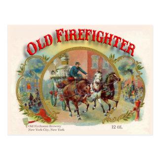 Cartão velho do sapador-bombeiro da era do