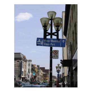 Cartão velho do sinal de rua de Montreal