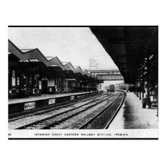 Cartão velho - estação de comboio de Ipswich