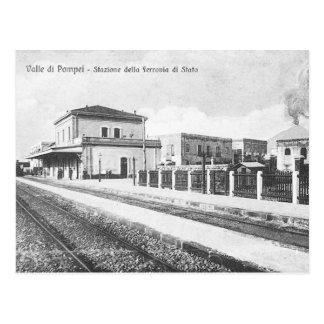 Cartão velho - estação de comboio de Pompeia Cartão Postal