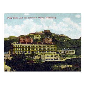 Cartão velho - estação máxima do hotel e do bonde
