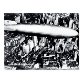 Cartão velho - Hindenburg sobre Manhattan 1936