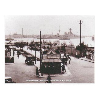 Cartão velho - HMS Hood, porto de Portsmouth