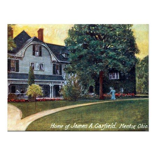 Cartão velho - mentor Ohio, a casa de Garfield Cartoes Postais