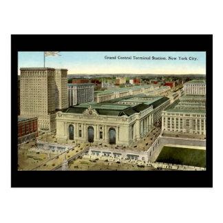 Cartão velho, Nova Iorque, estação central grande