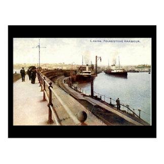 Cartão velho - o porto, Folkestone, Kent