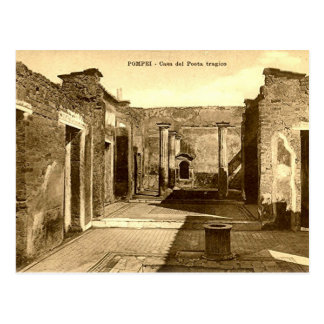 Cartão velho - Pompeia, Casa del Poeta Tragico Cartao Postal