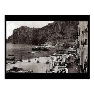 Cartão velho - porto grandioso, Capri, Italia