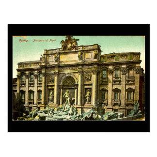 Cartão velho, Roma, Fontana di Trevi em 1908
