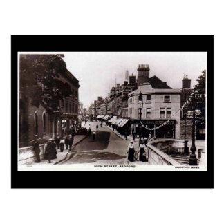 Cartão velho, rua principal, Bedford, em 1918
