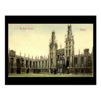 Cartão velho - todas as almas faculdade, Oxford