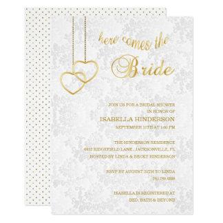 Cartão Vem aqui a noiva - branco & ouro - chá