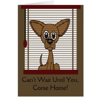 Cartão Vem em casa logo o filhote de cachorro
