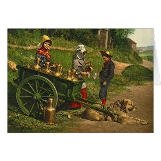 Cartão Vendedores Bruxelas Bélgica 1890 do leite