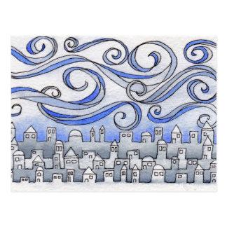 Cartão ventoso da arquitectura da cidade