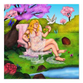 Cartão Venus de sorriso e pomba branca de voo no jardim
