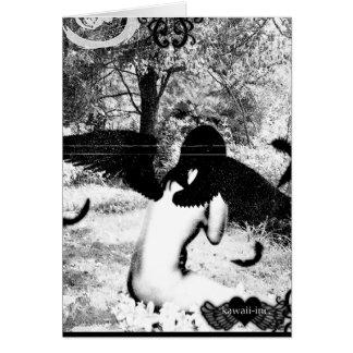 Cartão Ver do anjo do vintage. Preto & branco